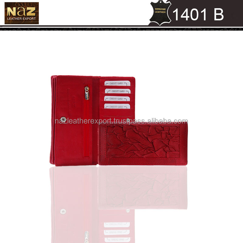 Fashion ladies wallet with coin purse, red color with customize logo