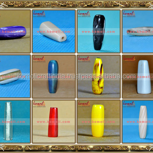 Long tube layered acrylic resin beads for jewelry making and curtain beads