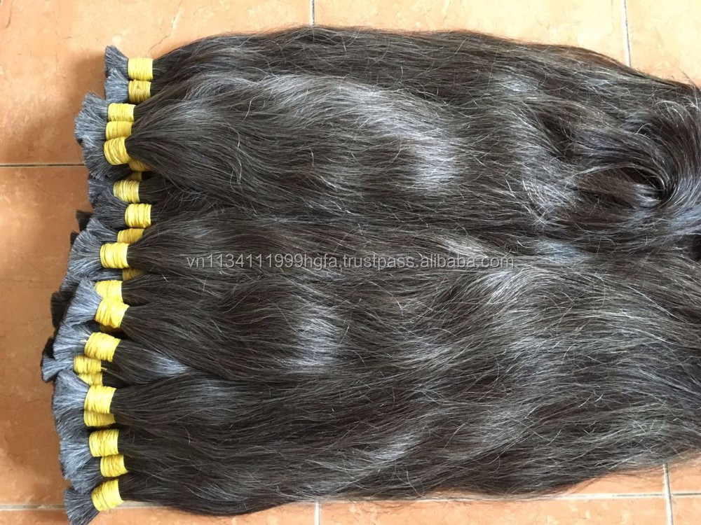 100% Unprocessed gray color hair bulk 1kg Malaysia Grey Human hair available sizes available size for choice in Vietnam