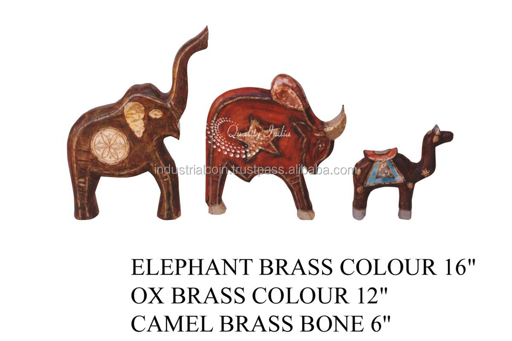 With Brass and Painted Elephant Ox and Camel Figurine