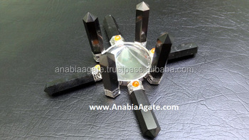 Crystal Quartz Cone Pyramid with Black Tourmaline Pencil antena Energy Generator