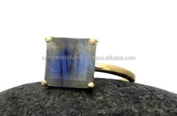 Prong Set Square Labradorite Ring For Women