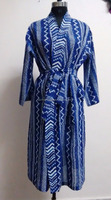 Indian Cotton Kimono Bath Robe LOng Night Gown Indigo Sleepwear Kimono Dress From Manufacturer