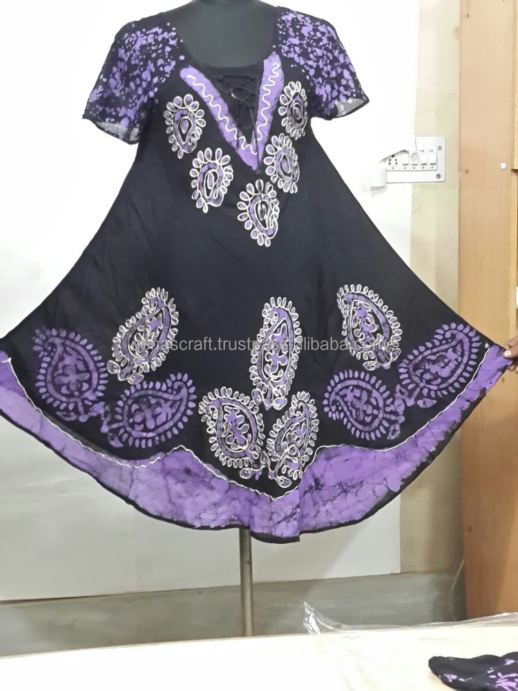NCTDD-13 Batic/Batik Breathable Hand Embroidered Rayon Maxi Indian Designer Umbrella Ladies Kurti Short Sleeves Casual Dresses