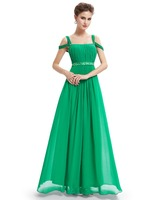 Ever-Pretty Sexy Straps Green Chiffon Ruffled Maxi Evening Dress HE08115