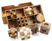 Set of 8 Wooden Game and Toys-Classic Wooden Games and Toys,Interlocking Puzzles,Brain Teasers,Crafted Jigsaws-collectibles
