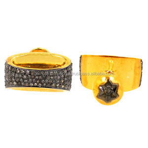 Gold Plated Fashion Findings 925 Sterling Diamond Pave Cufflink for Men