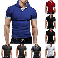 High quality Men's short sleeve slim fit soft textile cotton solid color Polo shirts