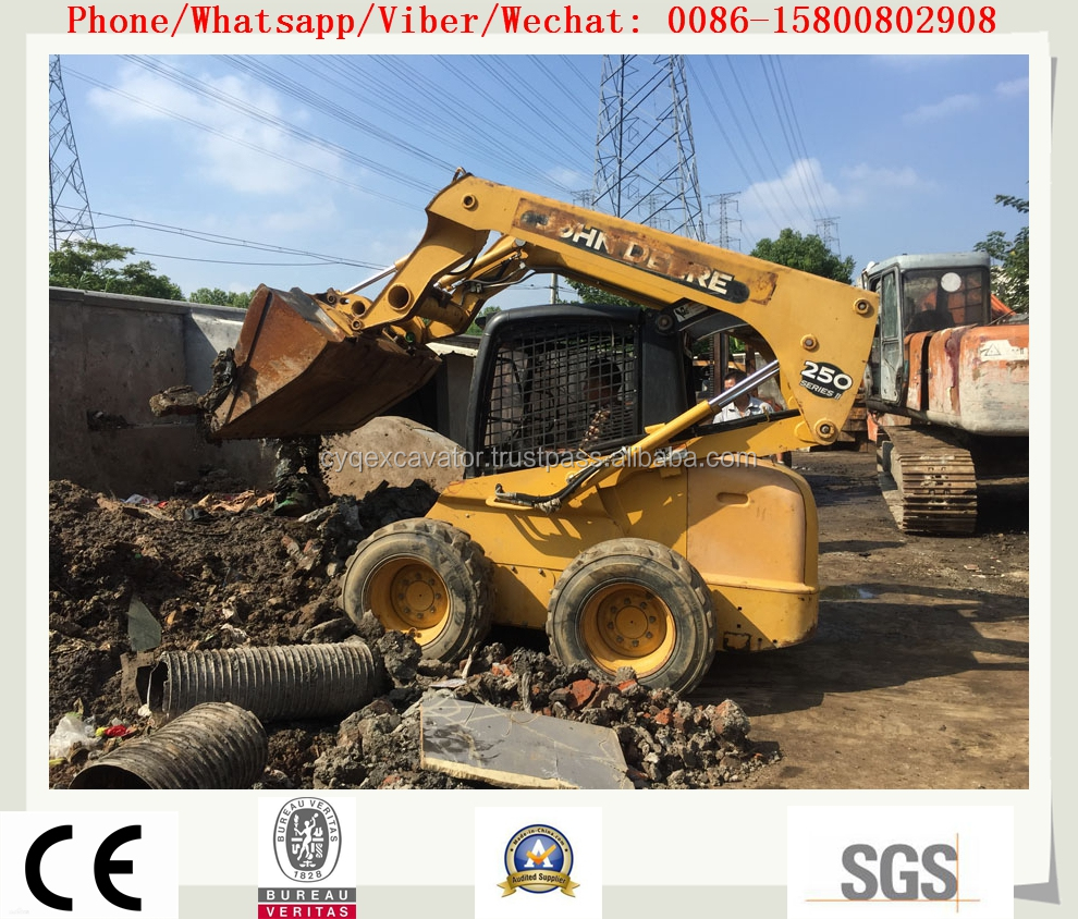 Used JOHN DEER S250 skid steer loader ,USED BACKHOE FOR SALE (whatsapp: 0086-15800802908)