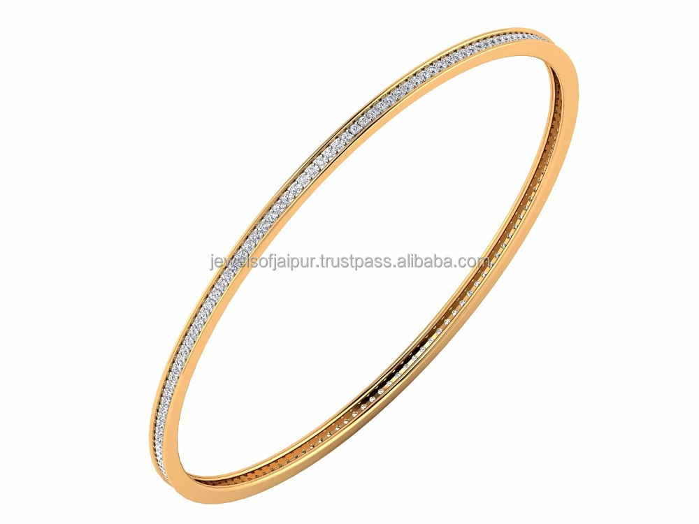 Elegant Diamond Bangle 14k Yellow Gold Jewelry Unique Design, Daily Wearable Bracelet