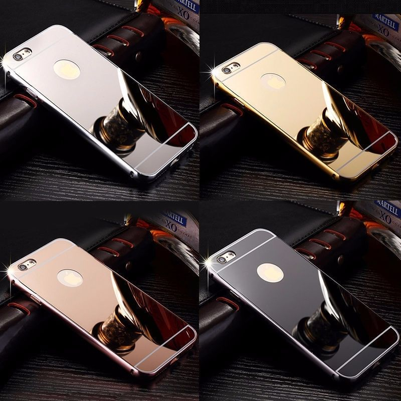 Luxury Metal Bumper Ultra-thin Mirror Back Case Cover For mobile phone