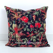 "BIRD PRINTED INDIAN WHOLESALER 24"" PILLOW CASES BLACK COLOR HANDMADE VELVET FABRIC HOME DECORATIVE THROW CUSHIONS COVERS"