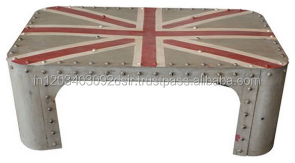 Industrial & vintage Iron Metal Union jack painted coffee Table