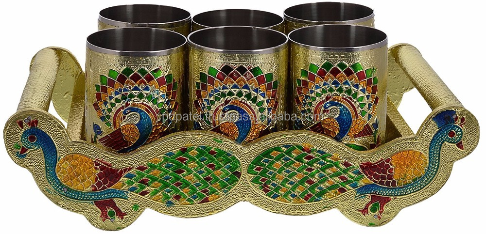 PD Craft Fancy indian TWIN PEACOCK Designed WOODEN MEENAKARI TRAY WITH MATCHING 6-GLASSES SET