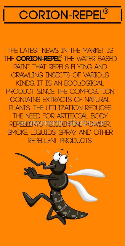 FLIES REPELLENT ACRYLIC PAINT WITH NATURAL EXTRACTS - CORION REPEL (Also Waterproofing, Anti: Bacteria, Acaro, Fungus)