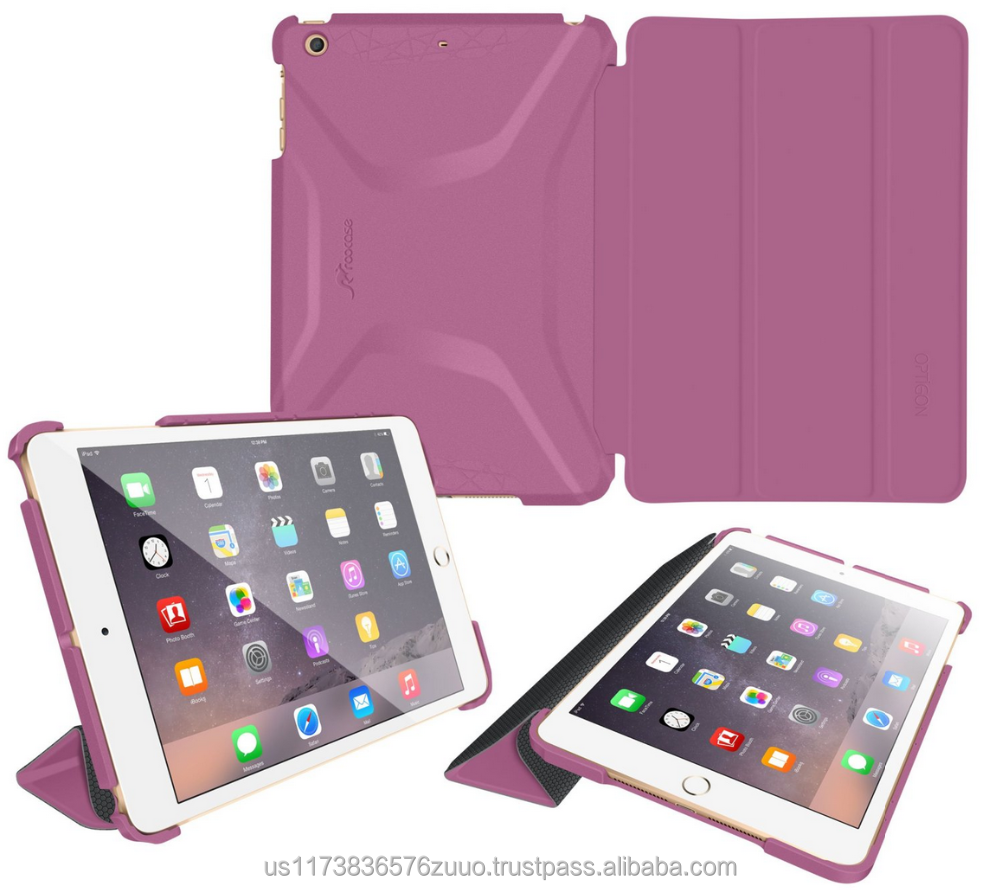 Slim Shell PC Case Cover - Features Landscape and Typing Stand for iPad Mini 3 2 1 roocase Optigon (Purple)