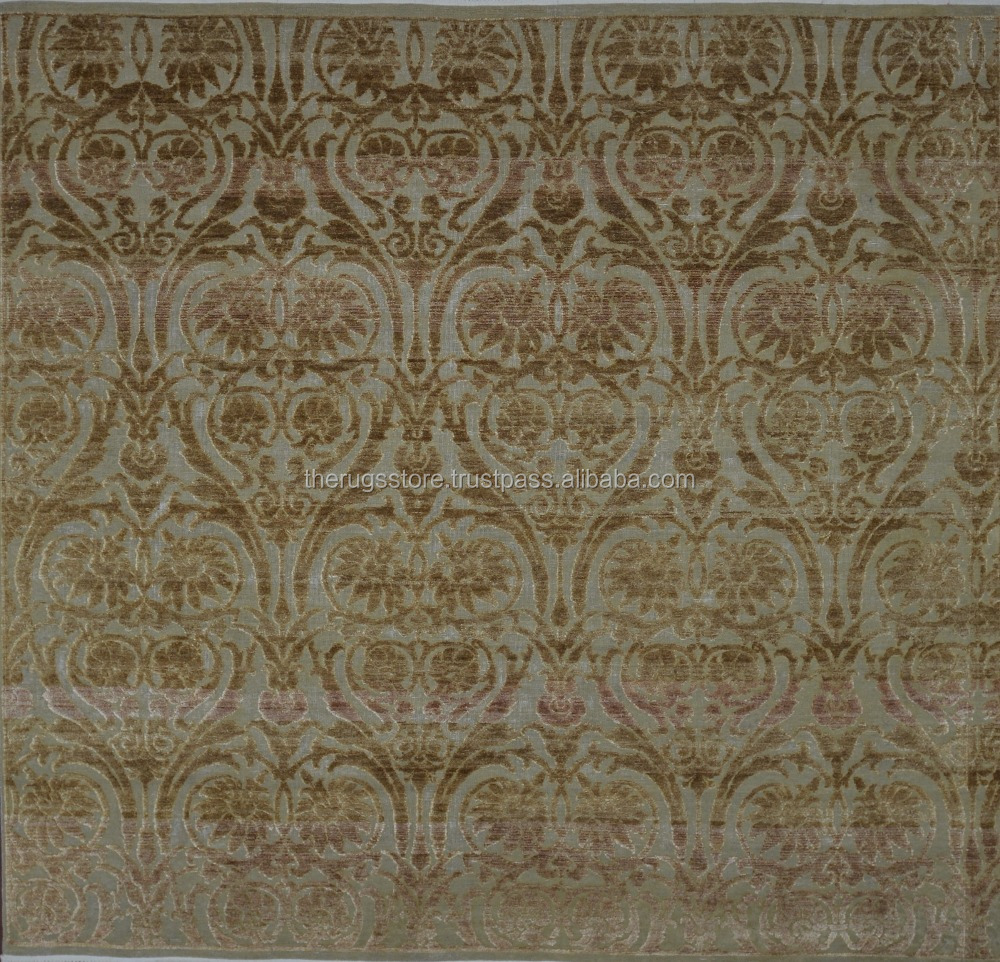 Hand Woven Square 8x8 Cream & Light Brown Color Transitional Hand Knotted Wool And Silk Area Rugs O-114