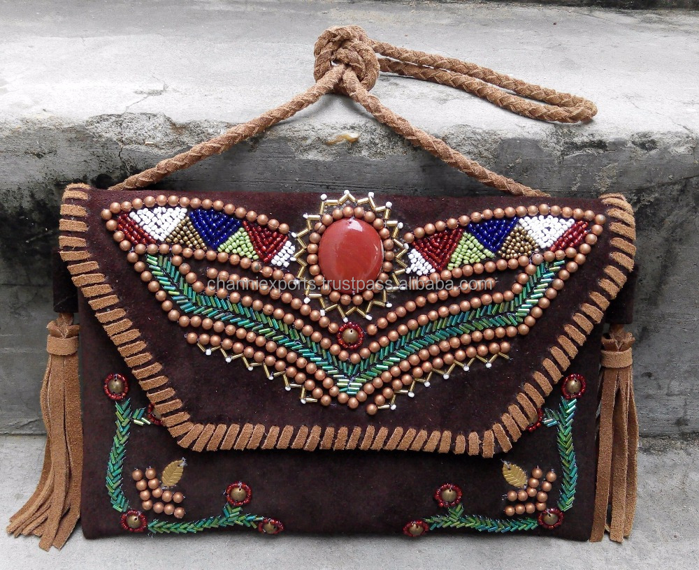 Colorful suede leather hand embroidered beadwork banjara bag