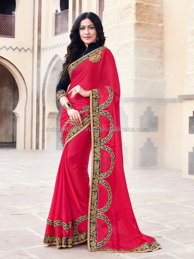 Elegant Indian Party Wear sarees or Casual Wear Red Saree