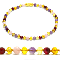 Natural Baltic amber and semi precious gemstone teething necklaces