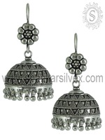 Fabulous Jhumka !! Indian Plain Silver Earring /Royal 925 Sterling Silver Jewelry /100% 925 Hallmark Jewelry ERPS15-1031-1
