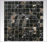 MOSAIC TILES BLACK AND GOLD MARBLE