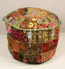 Green Pouffe vintage handmade cotton Round Pouffe Cover Furniture Pouf ottoman