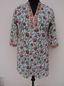 New Fashin new design floral printed tunic / 2017 latest girls wear kurits / cotton printed tunic