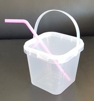 1L transparent /transparent bakery packing plastic bucket with Perforated Transparent Plastic Lids.,PP plastic.,No.413,Diameter