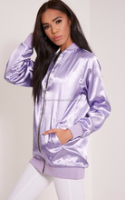 custom Girls varsity satin jacket/Custom light purple Color Satin women Jacket/Custom Ladies Embroidery Satin Jackets