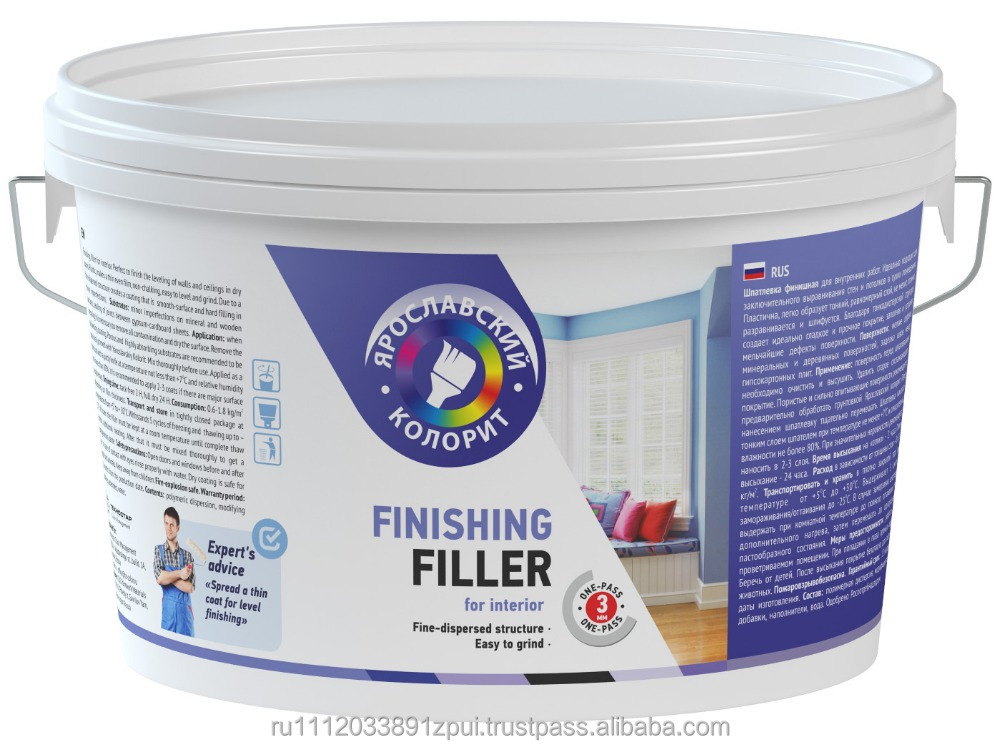 Water-based finishing filler for interior