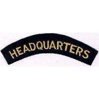 Headquarters (Shoulder Title) Yellow On Dark Blue Embroidered Civil Defence