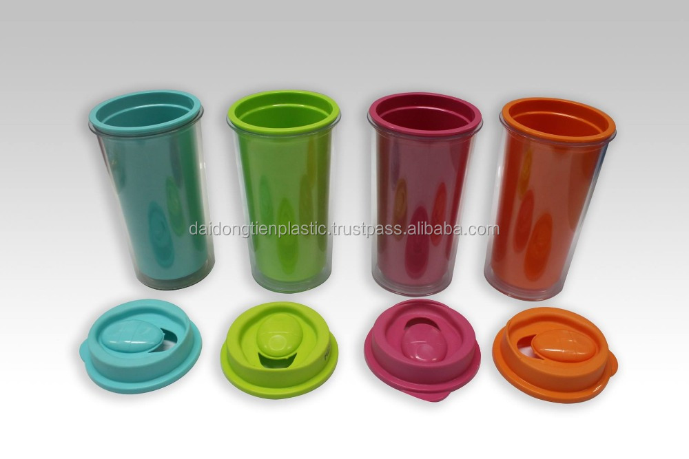 Custom printed plastic cup double wall coffee cups,reusable-COCO L1546-7