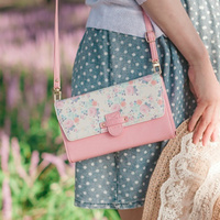 Simple Small Pouch Cross bag / Brown, Baby Pink, Sky Blue 3 Colors / Strap bag / Wallet / Pass port Case / daily Bag
