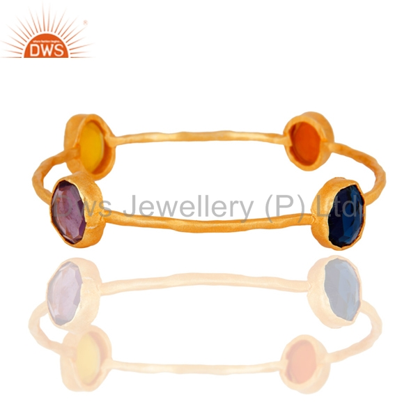 Gold Plated Brass Fashion Bangle Multi Gemstone Designer Bangles Manufacturers of Costume Jewelry Suppliers