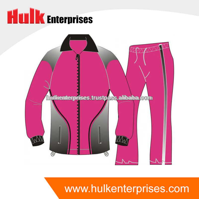 100% Polyester Imported Microfiber Pink, Black Track Suit