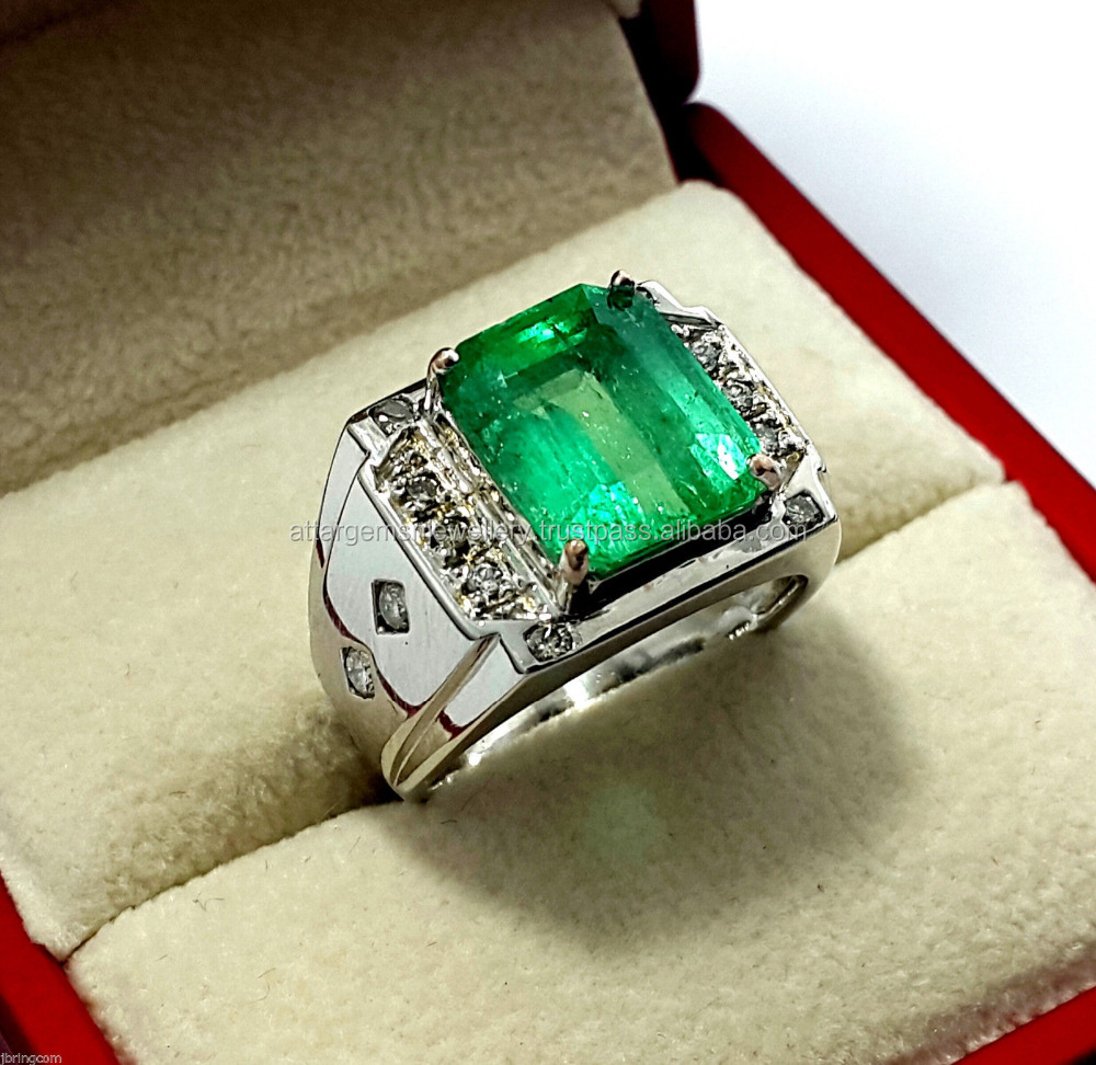 6.48ct Antique Certified Natural Colombian Green Emerald Mens Diamond Ring 18K