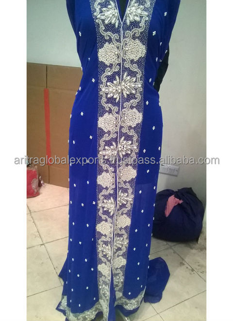 Blue designer moroccan kaftan dress with moti work Designer