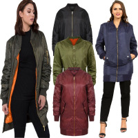 Girls Ladies Long Line Classic Vintage Padded Aviator Bomber Jacket Coat Top,women Long Bomber Jacket