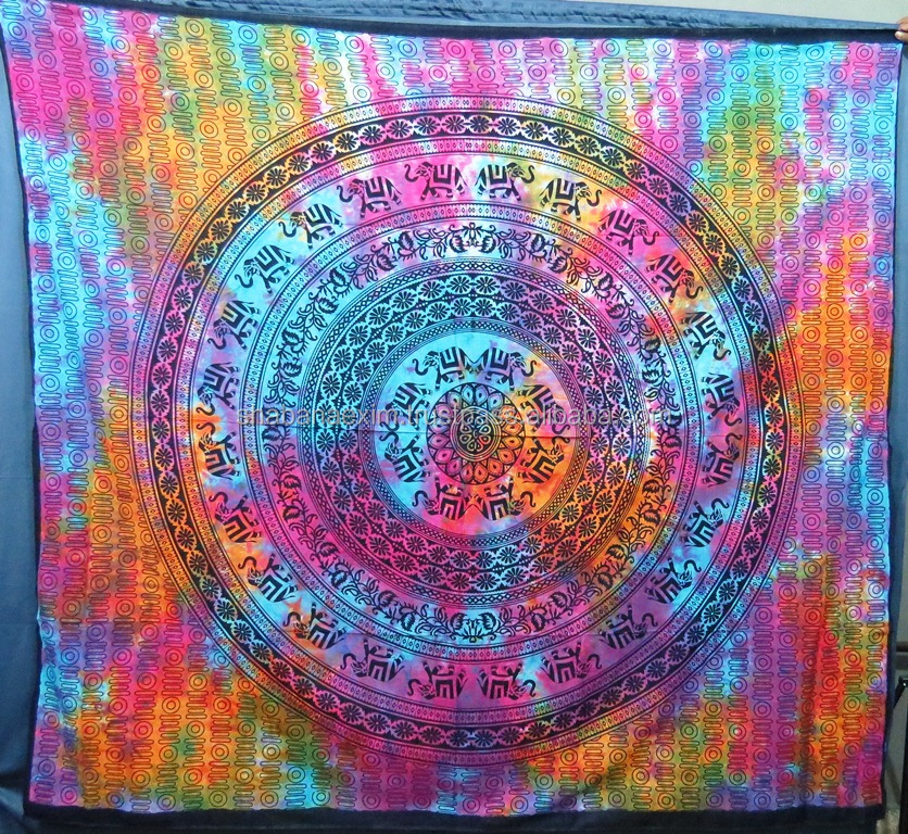 Tie And Dye Traditional mandala Tapestry Hippie Mandala bed cover boho tapestry for beach