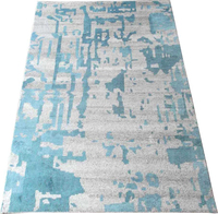 Modern 15K hand knotted Grey/Turquoise colour Wool/ Art silk rugs