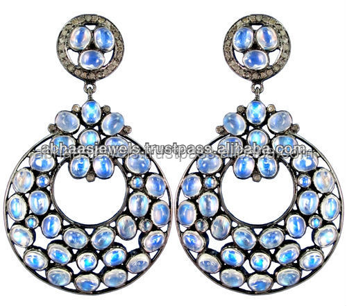 Royal Blue Moonstone Dangle Earrings 925 Sterling Silver Diamond Fashion Jewelry for Women