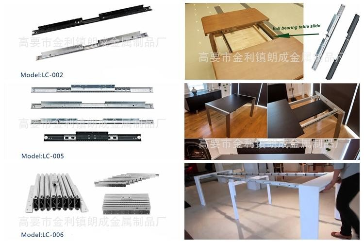 Multiple section console extension table slides