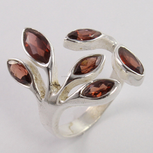 Stylish 925 Sterling Silver Ring Natural GARNET For Women