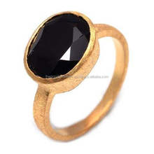 The Gopali Jewellers Black Onyx Natural Gemstones Ring vermeil Gold matte finish