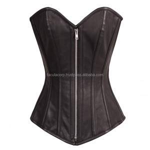 2016 Gothic corset Long Black Faux Leather goth Zip Front Steel Boned gothic Overbust corest FC-3514