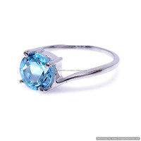 Natural Blue Topaz Gemstone Ring silver ring Fine jewellery