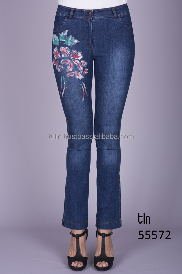 Wholesale Made in Turkey High Quality Fashion Printed Denim Pants High Waist Flare Leg Jeans for Women