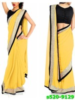 Indian Georgette And Dhupian Embroidered Yellow Black Saree