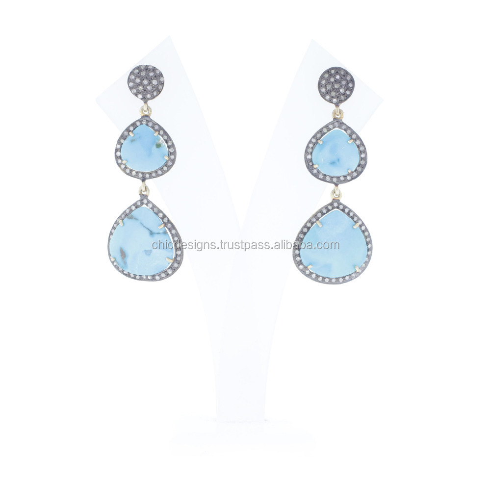 Natural Diamond Jewelry 925 Sterling Silver Turquoise Gemstone Dangle Earrings